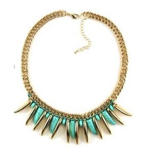 Jade Blue Tribal Chunky Chain Link Necklace